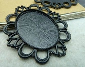 9 pcs 30X40mm Black Antique Bronze  Cameo Base Setting Tray Blanks Pendants C2780