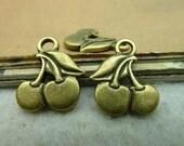 20pcs 14x17mm The Cherry Antique Bronze Retro Pendant Charm For Jewelry Pendants C2906