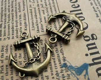3 pcs 27x31mm  Antique Bronze the anchors  Pendant Charm