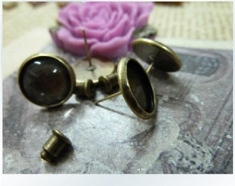 10pcs 12mm Pad Antique Bronze Brass Round Cameo Cabochon Base Setting Earring Earposts with 10pcs Earring cap