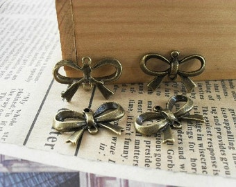 40pcs 14x22mm Antique Bronze Lovely bowknot  Charm connector link