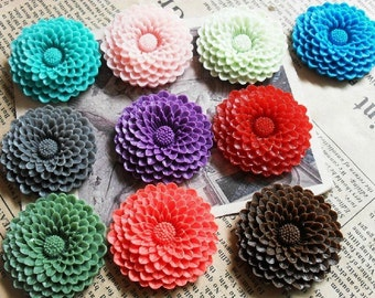 80pcs 37mm Mixed Lovely Beautiful Resin sunflower Flower Cameo Cabochon Base Setting Pendants Charm Pendant