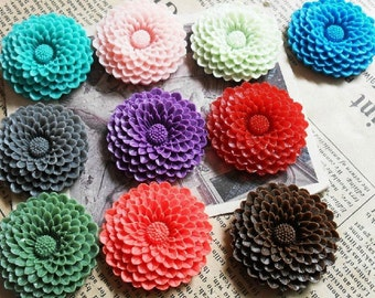 10pcs 37mm Mixed Lovely Beautiful Resin sunflower  Cameo Cabochon Base Setting Pendants Charm Pendant