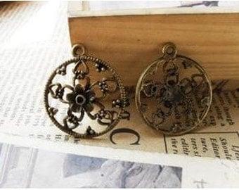 10pcs 24mm The Round Antique Bronze  Charm Pendant