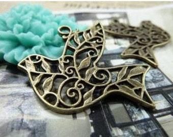 10pcs 29x36mm The Pigeons Antique Bronze Retro Pendant Charm For Jewelry Pendant