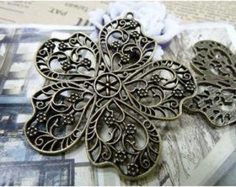 3pcs 54x58mm The Flower Antique Bronze Retro Pendant Charm Pendants For Jewelry Pendant