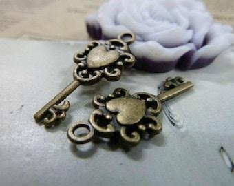 20pcs 12x26mm The Key Antique Bronze Retro Pendant Charm For Jewelry Pendant