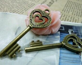 10pcs 19x52mm The Heart In Heart Key  Antique Bronze Charm Pendant