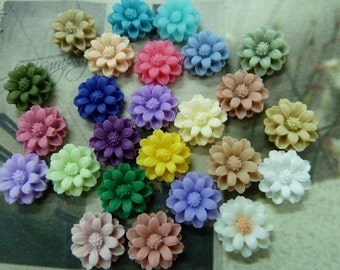 40pcs 10mm Mixed Lovely Beautiful Resin  Flower Cameo Cabochon Base Setting Charm Pendant/Hair Pin/Ear Ring