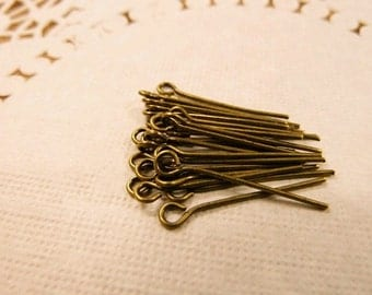 100ps  22mm Antique Bronze  Pin Findings