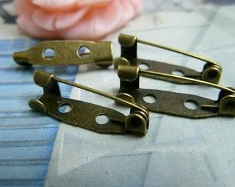 50pcs 20mm Antique Bronze Retro Brooch for Jewelry
