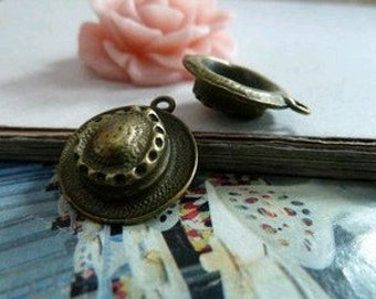 10pcs 5x17x18mm The Hat Antique Bronze Retro Pendant Charm For Jewelry Pendant C77