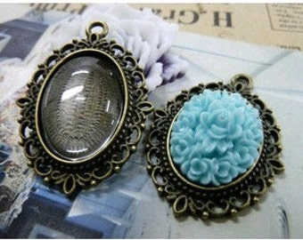 10 pcs 18x25mm Antique Bronze  Cameo Cabochon Base Setting Tray Blanks Pendants Charm Pendant D176