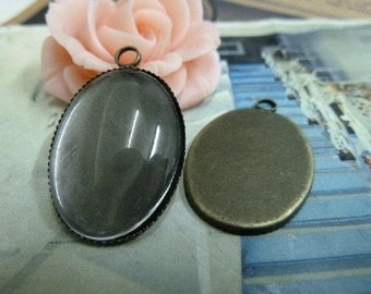 80 pcs 18x25mm Antique Bronze  Cameo Cabochon Base Setting Tray Blanks Pendants Charm Pendant D295