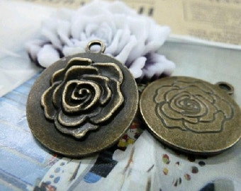 20pcs 27x23mm The Flower Antique Bronze Retro Pendant  Charm For Jewelry Pendant C1482