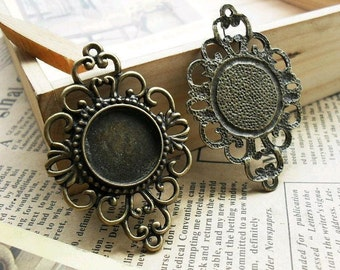 6 pcs 18mm Antique Bronze  Cameo Cabochon Base Setting Tray Blanks Pendants Charm Pendant D119