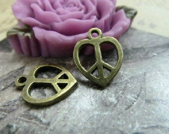 50pcs 13x14mm The Peace love Antique Bronze Retro Pendant  Charm For Jewelry Pendant C1168