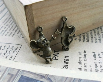 30pcs 16x22mm The Jerry Mouse Antique Bronze Retro Pendant Charm For Jewelry Pendant C413