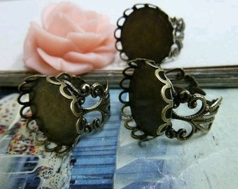 10pcs 15mm Antique Bronze  Cameo Cabochon Base Setting Rings C2095