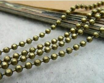 16 Feet 2mm Antique Bronze Plated  Ball Chains G1008