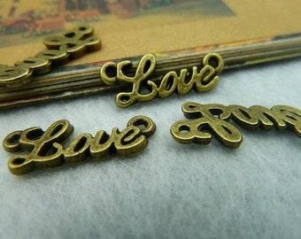 30 pcs 8x20mm The Love Antique Bronze Retro Pendant  Charm For Jewelry Pendant C2137