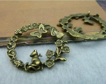 10pcs 30mm The Flower butterfly and cat  Antique Bronze Retro Pendant  Charm For Jewelry Pendant C2172