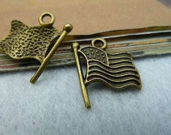 30pcs 15x18mm The Flag Antique Bronze Retro PendantS Charm For Jewelry Pendant C2430