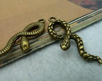 10pcs 11x33mm The Snake Antique Bronze Retro Pendant  Charm For Jewelry Pendant C2416