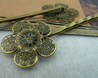 10pcs 25x65mm Flower Antique Bronze Lovely  Pin Hairpin C2479