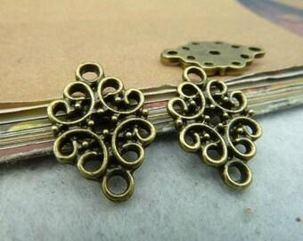 30pcs 12x19mm The Flower Connector Antique Bronze Retro Pendant Charm connector Pendants For Jewelry Pendants C2564