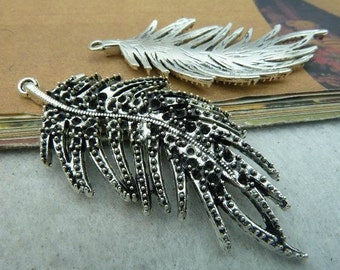 5pcs 16x32mm The Leaves  Silver White Color Charm For Jewelry Pendant C2572