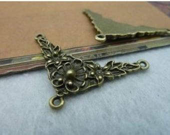 10pcs 28x40mm The Flower connector Antique Bronze Retro Pendant Charm For Jewelry Pendant C2184