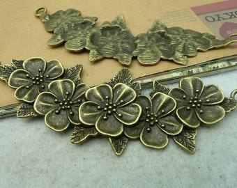 3pcs 48x110mm The Flower Connctor Antique Bronze Retro Pendant Charm For Jewelry Pendants C2849