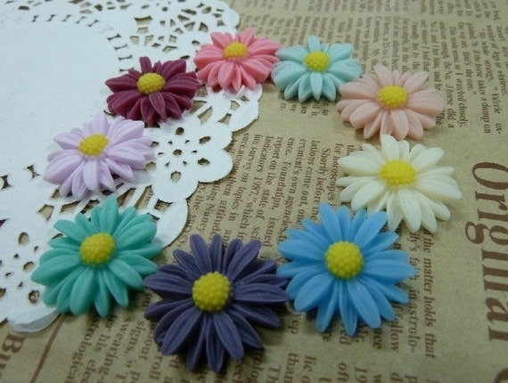 40pcs 27mm Mixed Lovely Beautiful Resin  Flower Cameo Cabochon Base Setting Charm Pendant /Hair Pin/Ear Ring