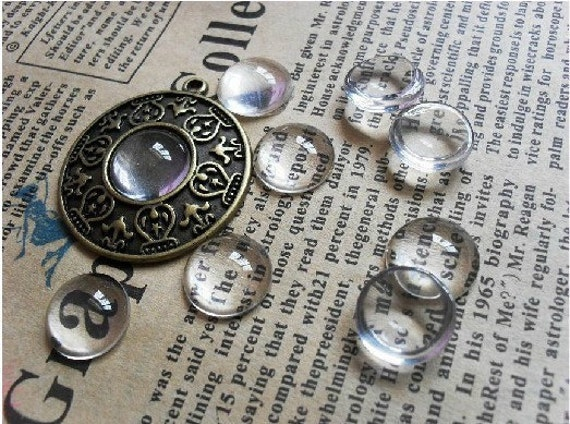 300pcs 12mm Clear Glass Transparent Clear Oblate Cabochon Cameo Cover Cabs