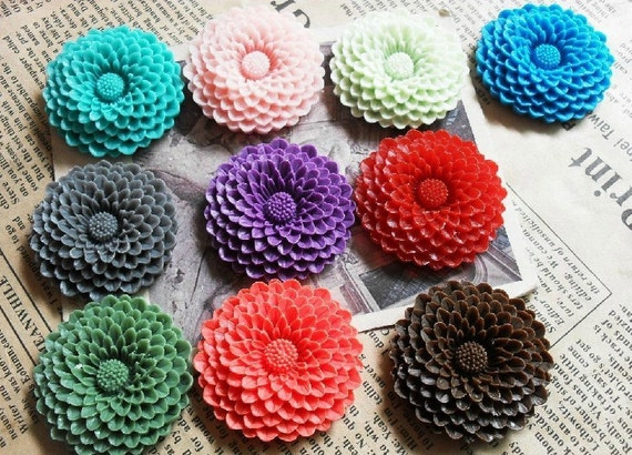 10pcs 37mm Mixed Lovely Beautiful Resin sunflower Flower Cameo Cabochon Base Setting Pendants Charm Pendant