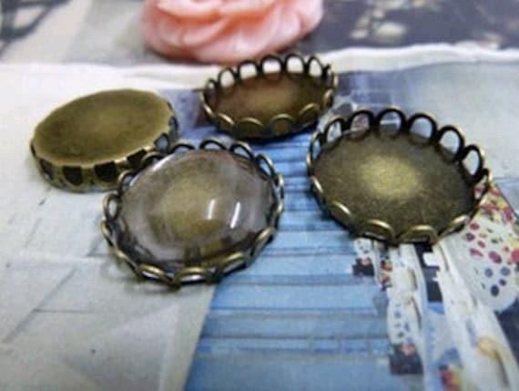 10 pcs 18mm Antique Bronze  Cameo Base Setting Tray Blanks Pendants