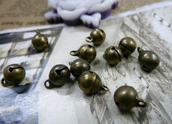 100pcs 6.5mm The Bell Antique Bronze Retro Pendant  Charm Pendants For Jewelry Pendant C1474