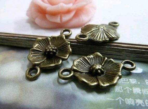 20pcs 15x25mm The  Flower Connector Antique Bronze Retro Pendant Charm For Jewelry Pendant C2043