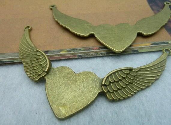 3 pcs 53x90mm The Fly Heart  Antique Bronze Retro Pendant Charm For Jewelry Pendant C2162