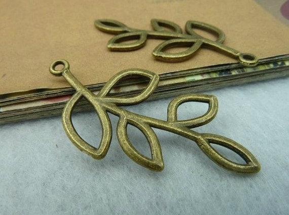 20 pcs 20x40mm The Leaves Antique Bronze Retro Pendant  Charm For Jewelry Pendants C2657