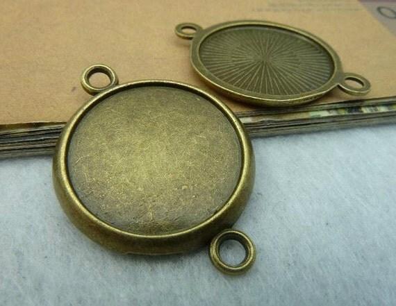 10 pcs 22mm Antique Bronze  Cameo Cabochon Base Setting Tray Blanks Pendants Charm Pendant C2649