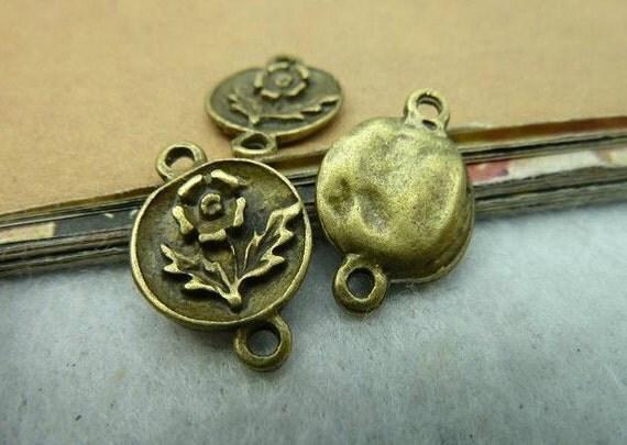 30pcs 11x17mm The Flower Connector Antique Bronze Retro Pendant  Charm For Jewelry Pendant C2832