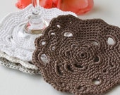 Turn on Your Imagination Abstract Crochet Coasters set of 4 Eco-friendly and Natural Many colors