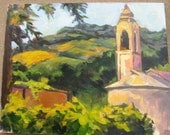 """Italy Tuscan Landscape Painting- 16 x 20 Original Acrylic on Canvas, """"A Glimpse of Italy"""""""