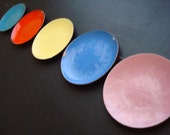 Vintage Enamel Coasters Colorful Enamel Coaster Set of 5