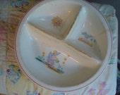 Vintage Baby Dish Stonewae/Porcelain 1940s Childs Dish
