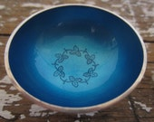 Vintage Blue Enamel Sterling Meka Salt Cellar Vintage Serving Dish