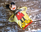 Vintage Mickey Mouse Hand Puppet Walt Disney Gund Mfg. Co.  Toy Yellow and Red