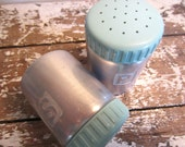 Aluminum and Turquoise Salt and Pepper Shakers Vintage Kitchen